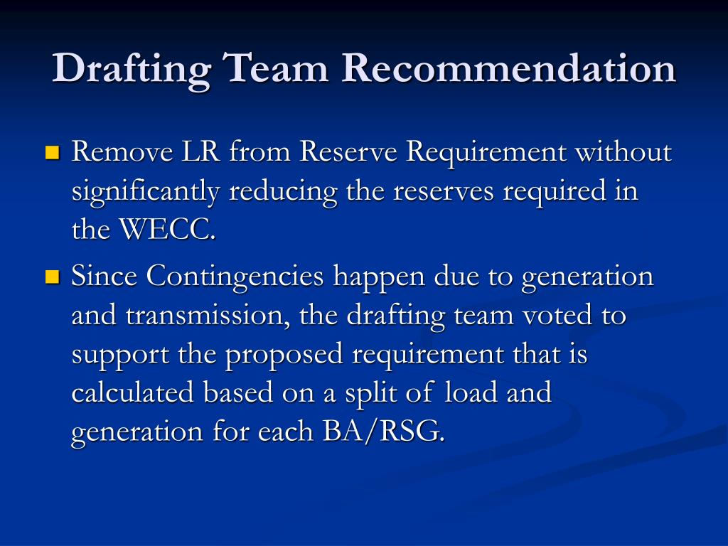BAL-002-WECC-1 Contingency Reserves PowerPoint