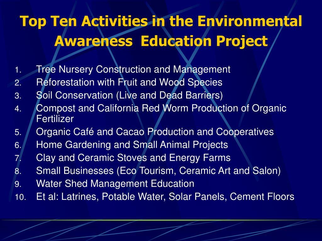 Top Ten Activities in the Environmental Awareness