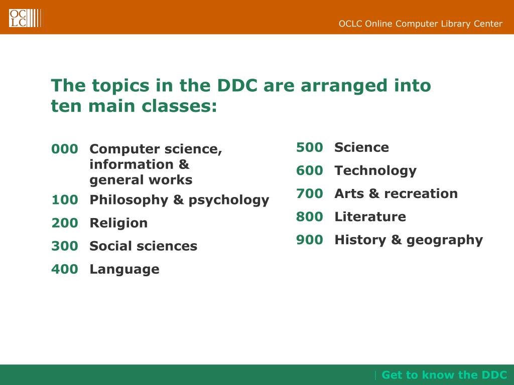 The topics in the DDC are arranged into