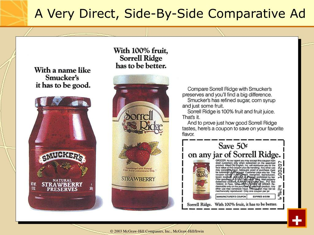 A Very Direct, Side-By-Side Comparative Ad
