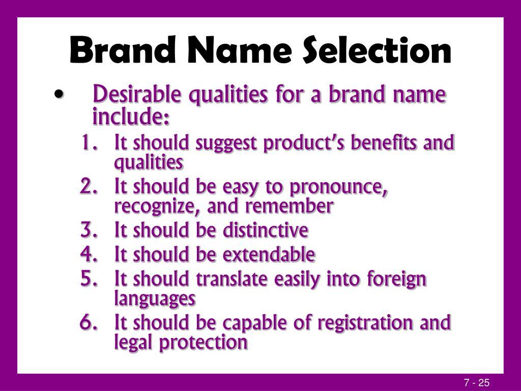 Brand Name Selection