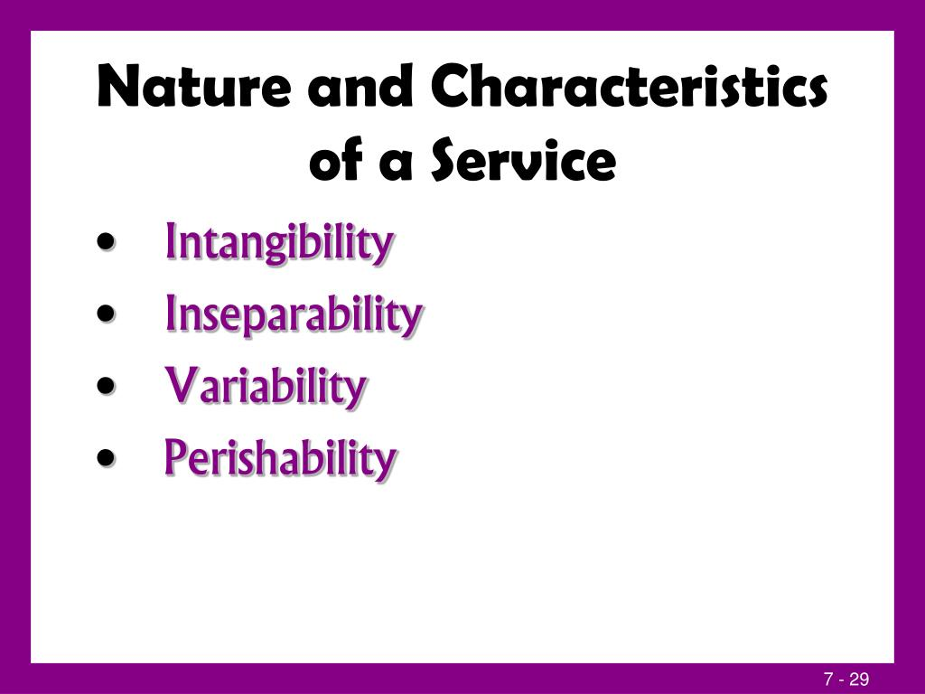 Nature and Characteristics of a Service