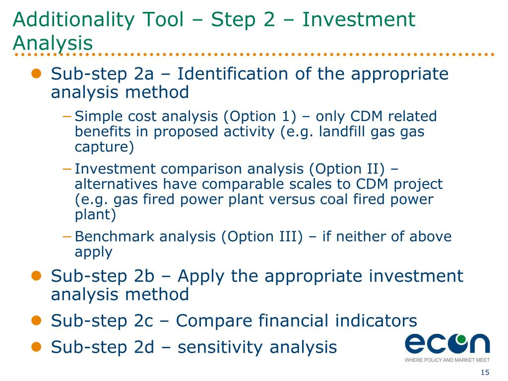 Additionality Tool – Step 2 – Investment Analysis