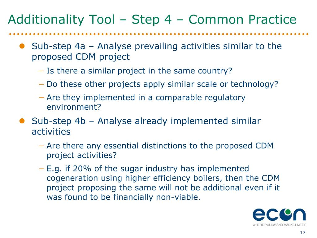 Additionality Tool – Step 4 – Common Practice