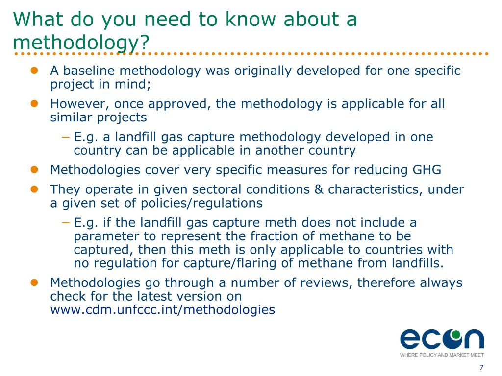 What do you need to know about a methodology?
