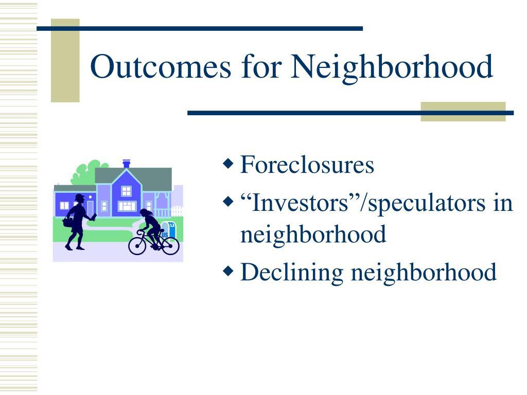 Outcomes for Neighborhood