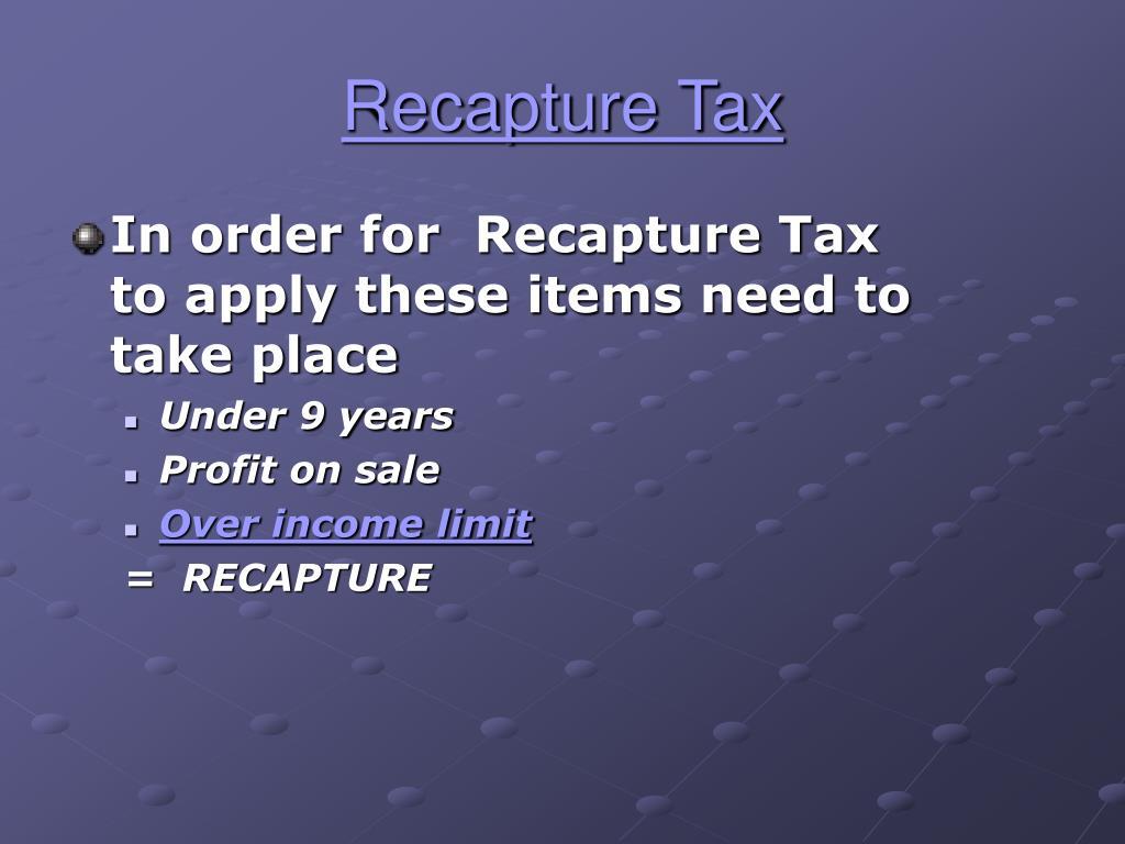 Recapture Tax