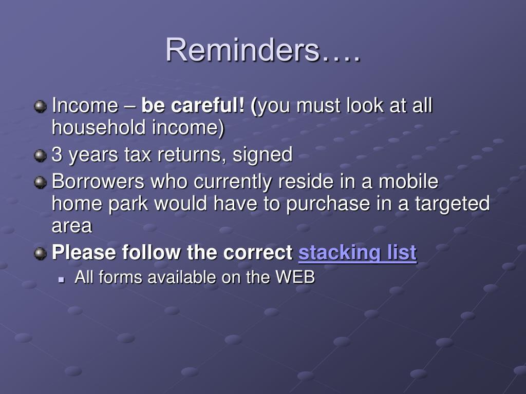 Reminders….