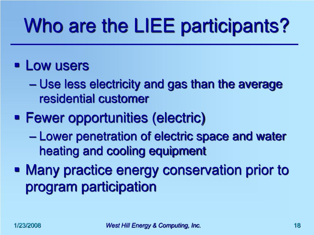 Who are the LIEE participants?