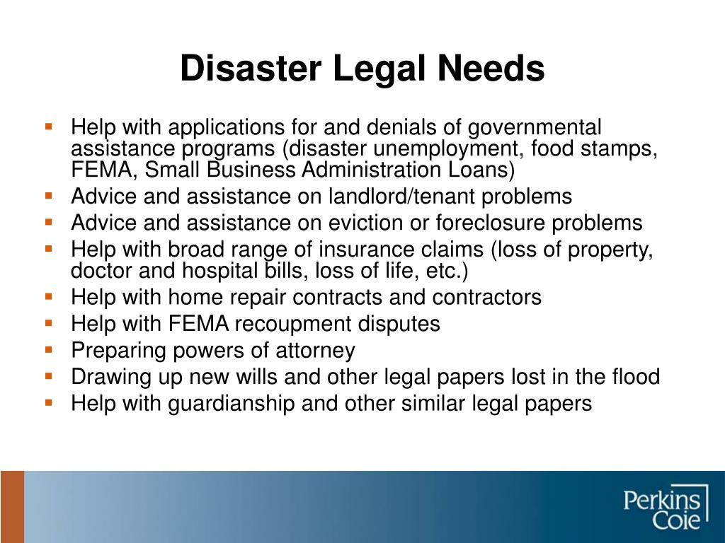 Disaster Legal Needs