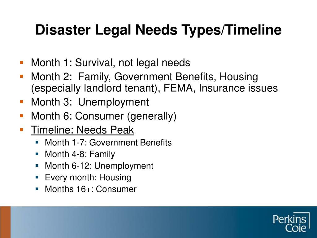 Disaster Legal Needs Types/Timeline