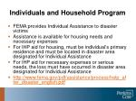 individuals and household program
