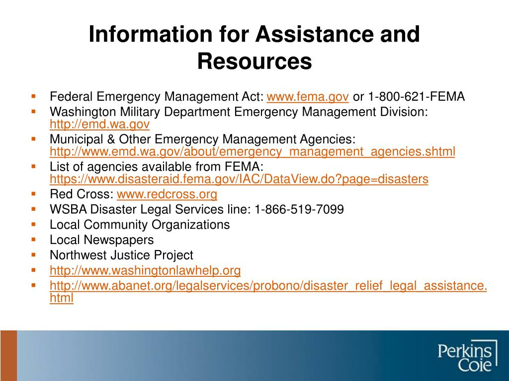 Information for Assistance and Resources