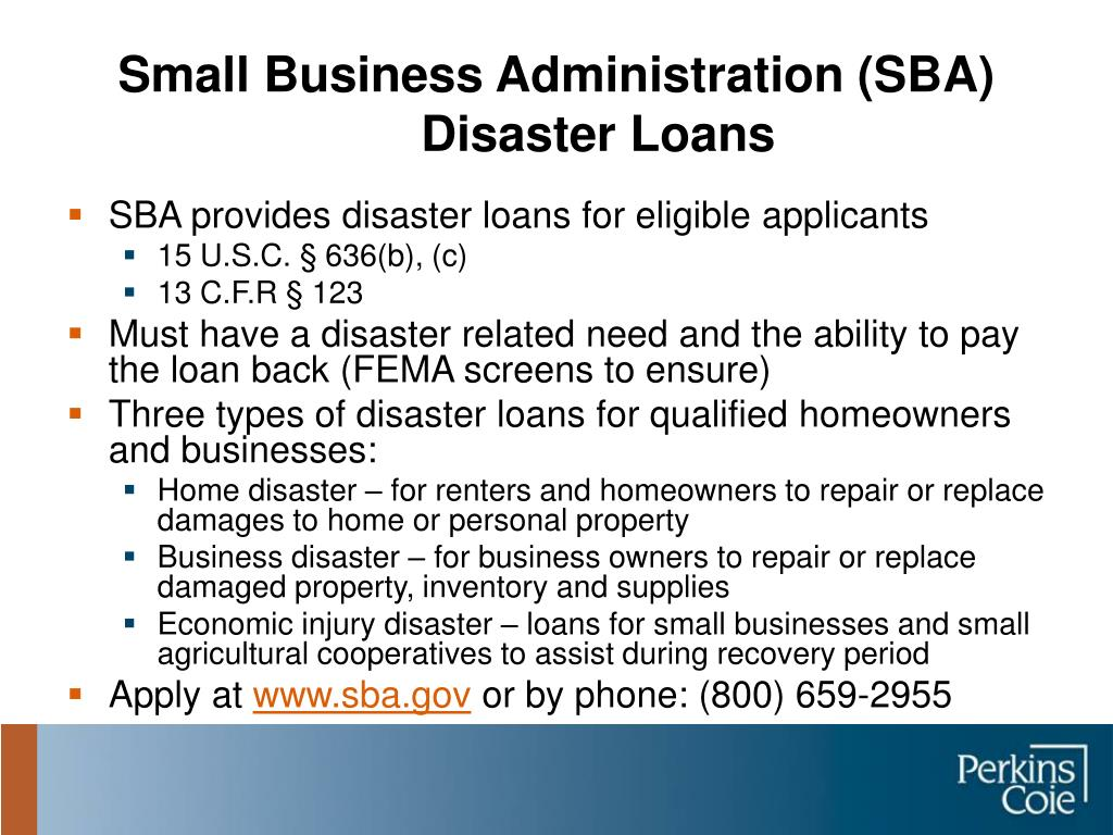 Small Business Administration (SBA) Disaster Loans