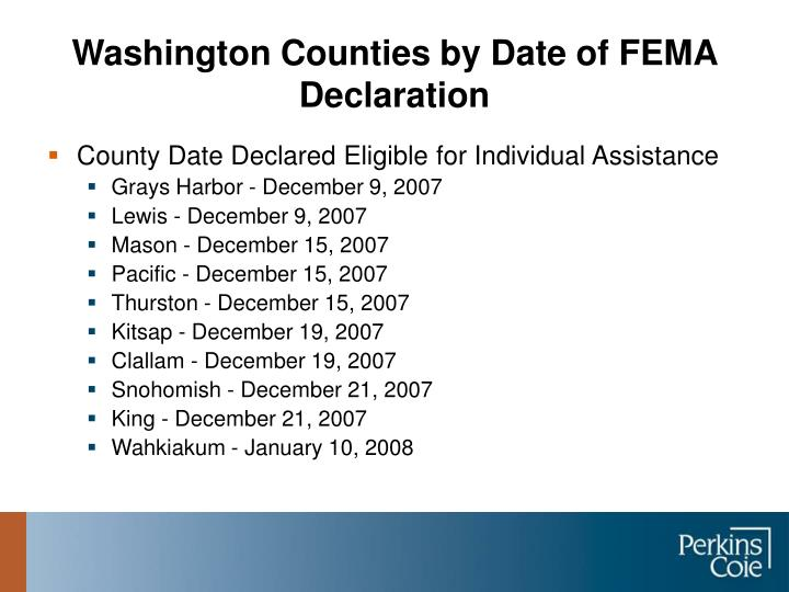 Washington counties by date of fema declaration