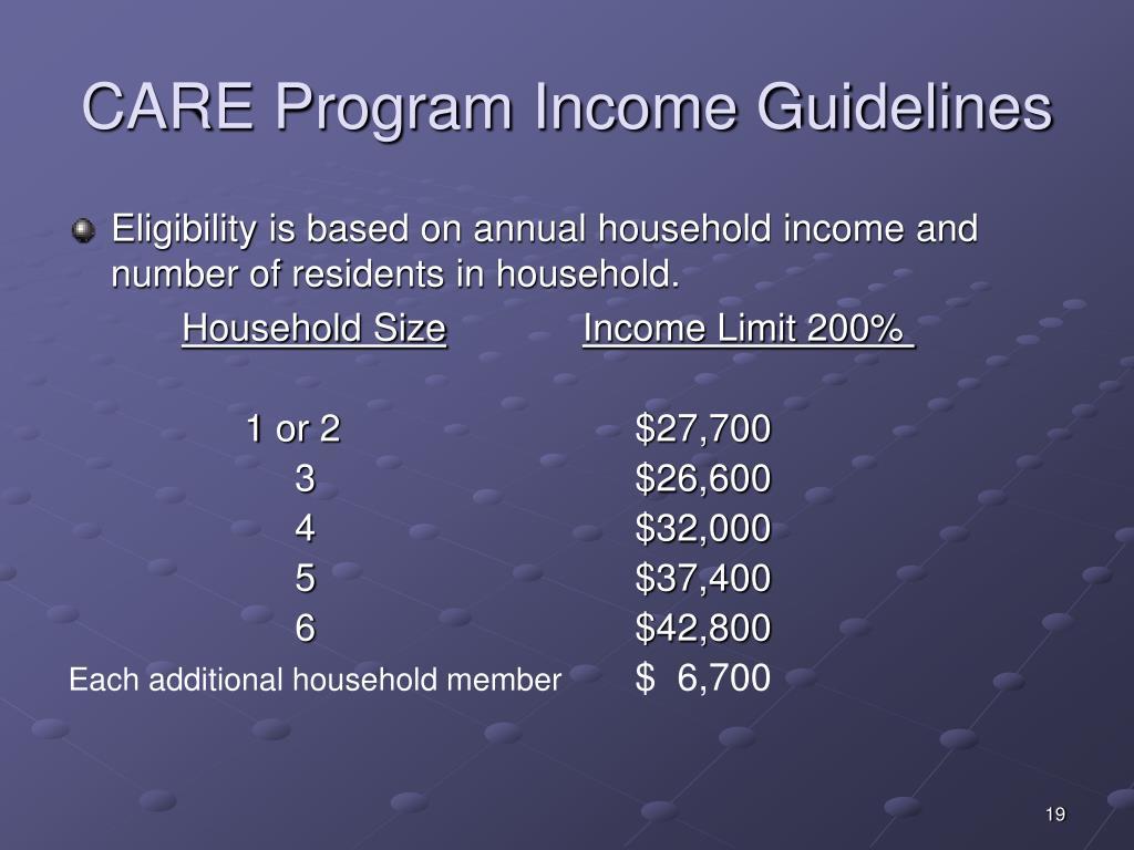 CARE Program Income Guidelines