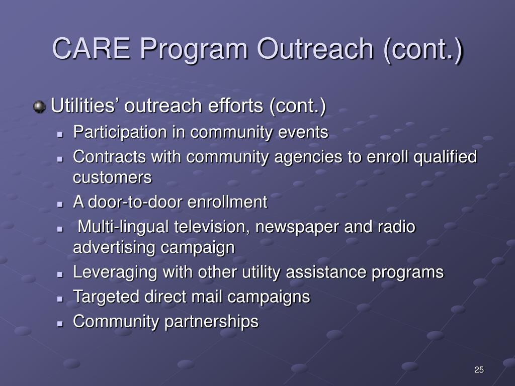 CARE Program Outreach (cont.)