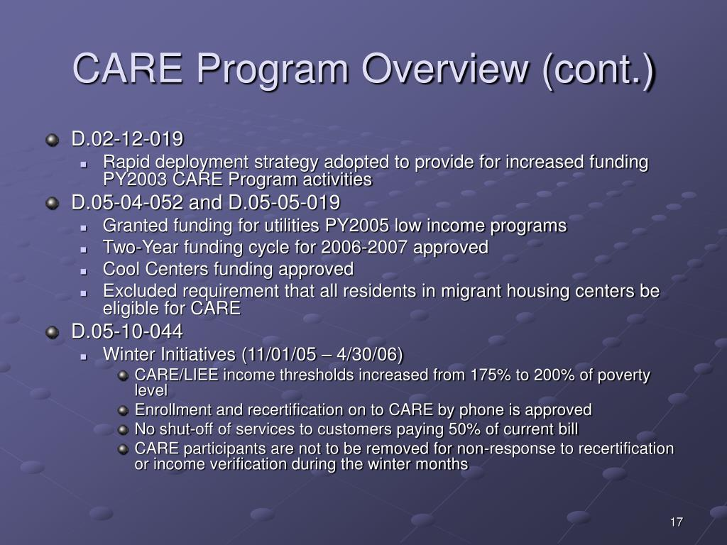 CARE Program Overview (cont.)