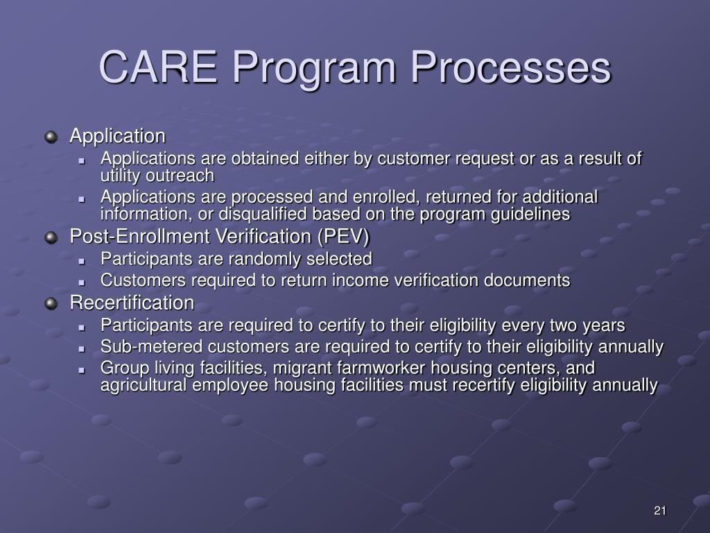 CARE Program Processes