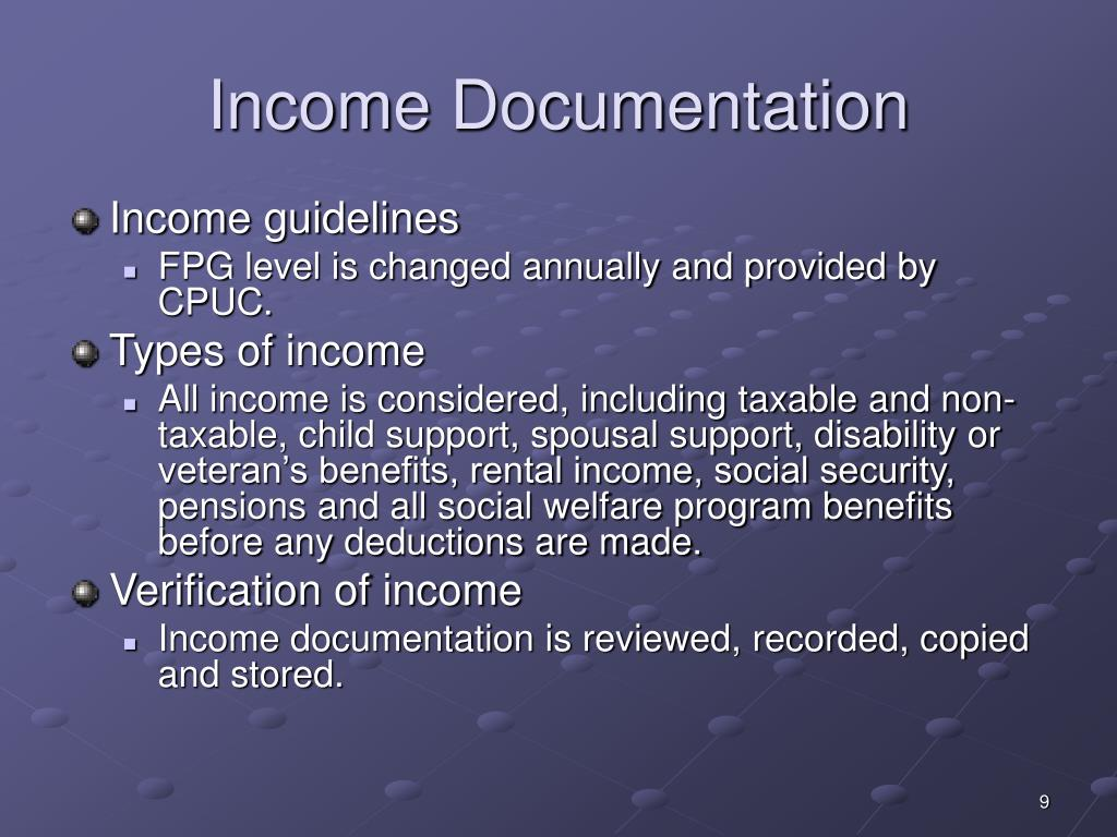 Income Documentation