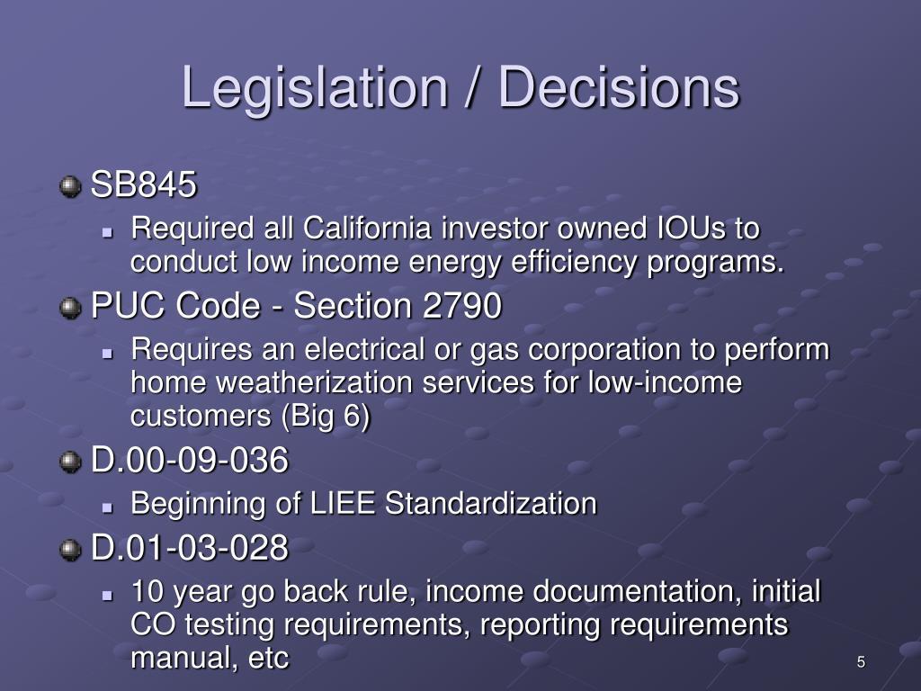 Legislation / Decisions
