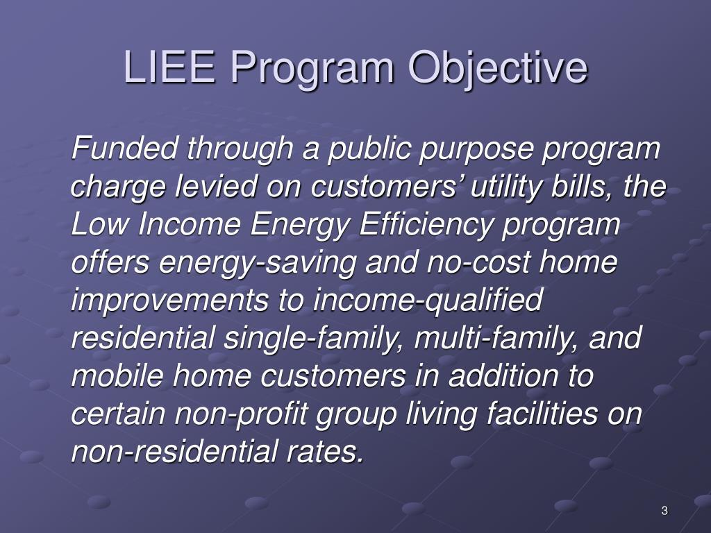 LIEE Program Objective