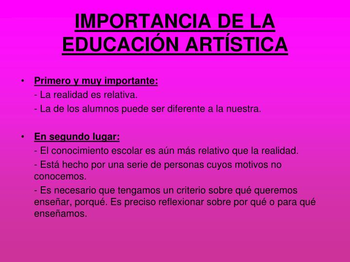 Importancia de la educaci n art stica