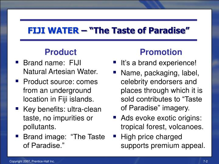 Fiji water the taste of paradise