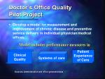 doctor s office quality pilot project