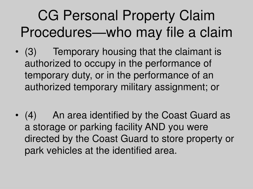 CG Personal Property Claim Procedures—who may file a claim