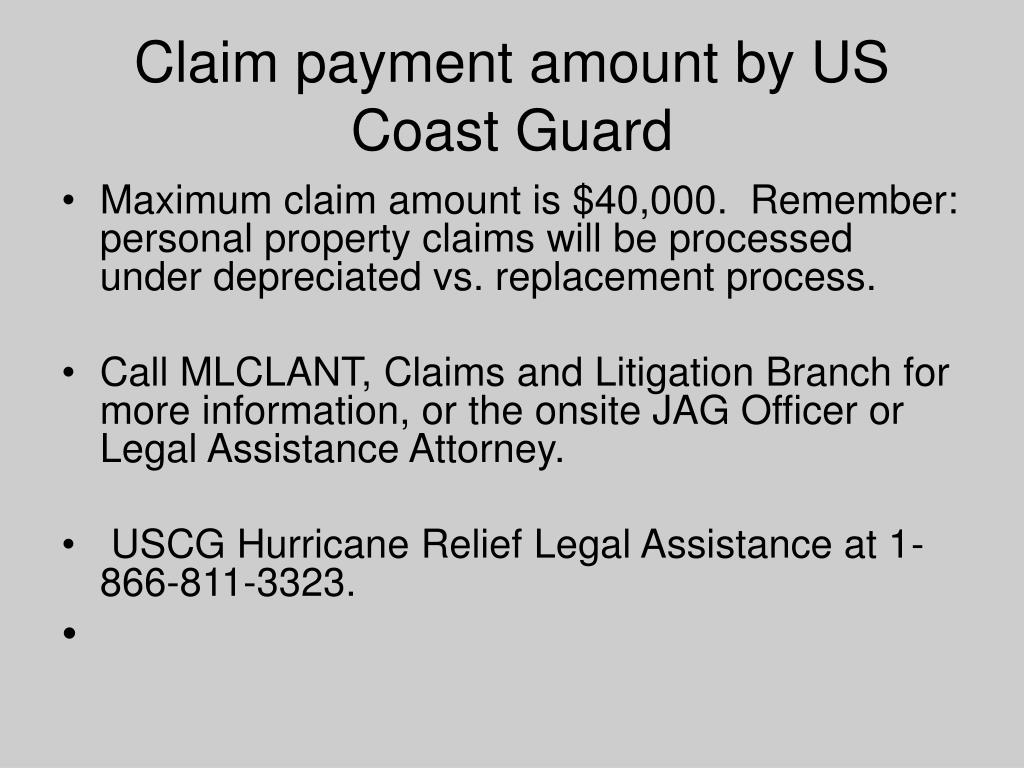 Claim payment amount by US Coast Guard