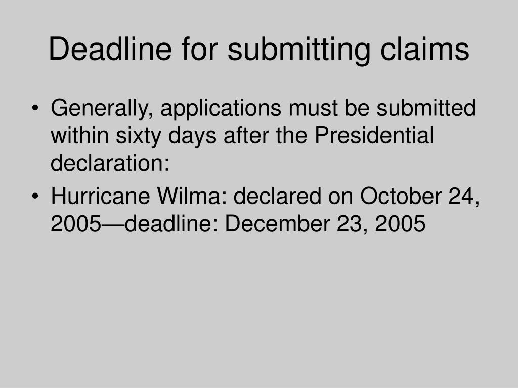 Deadline for submitting claims