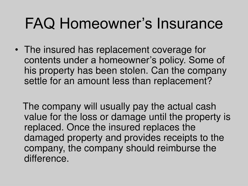 FAQ Homeowner's Insurance