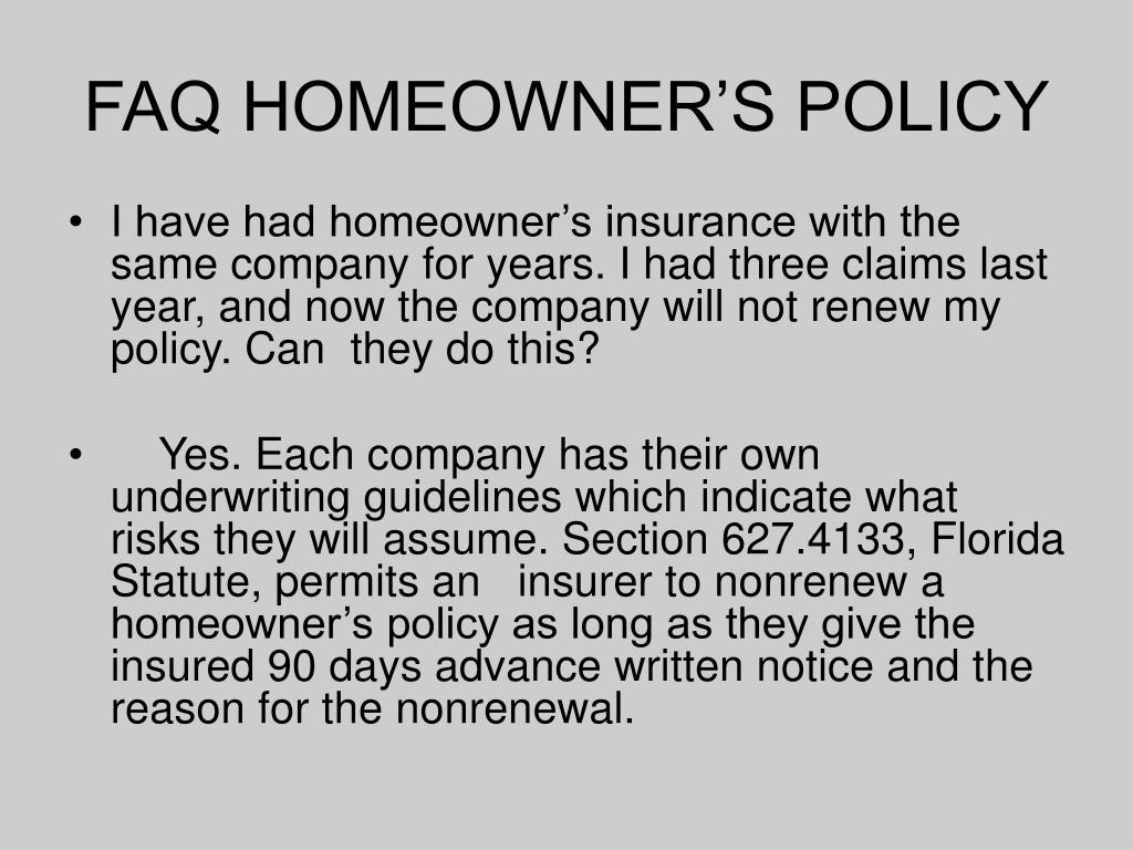 FAQ HOMEOWNER'S POLICY