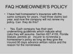 faq homeowner s policy
