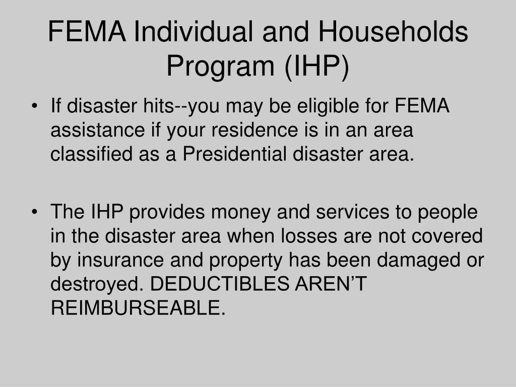 FEMA Individual and Households Program (IHP)