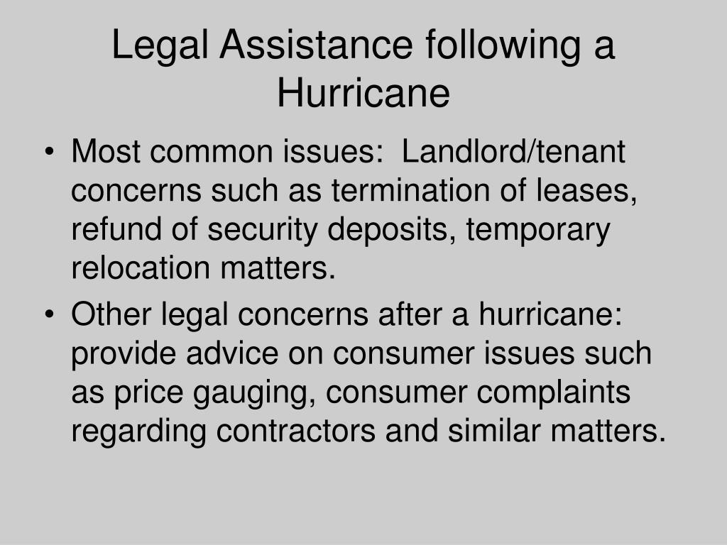 Legal Assistance following a Hurricane