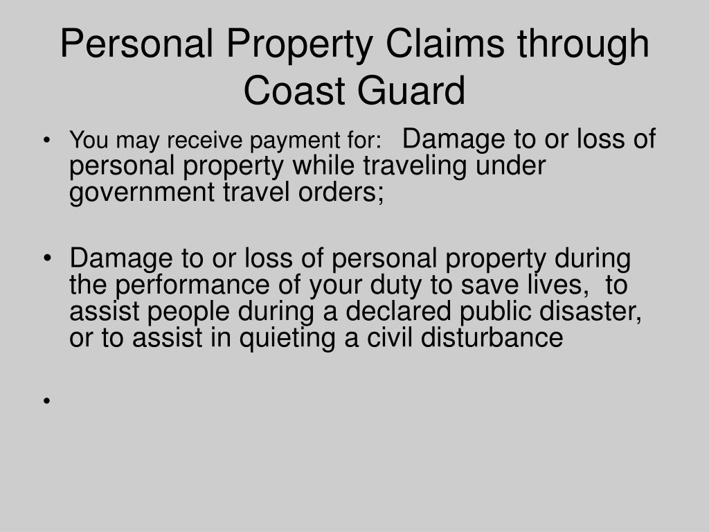 Personal Property Claims through Coast Guard