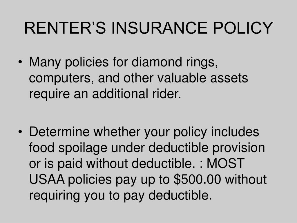 RENTER'S INSURANCE POLICY