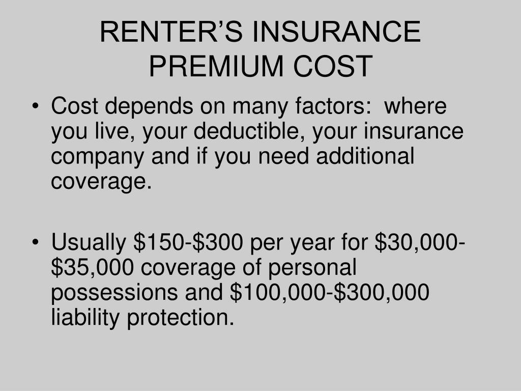 RENTER'S INSURANCE PREMIUM COST
