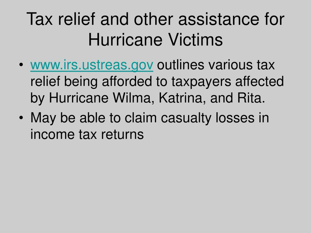 Tax relief and other assistance for Hurricane Victims
