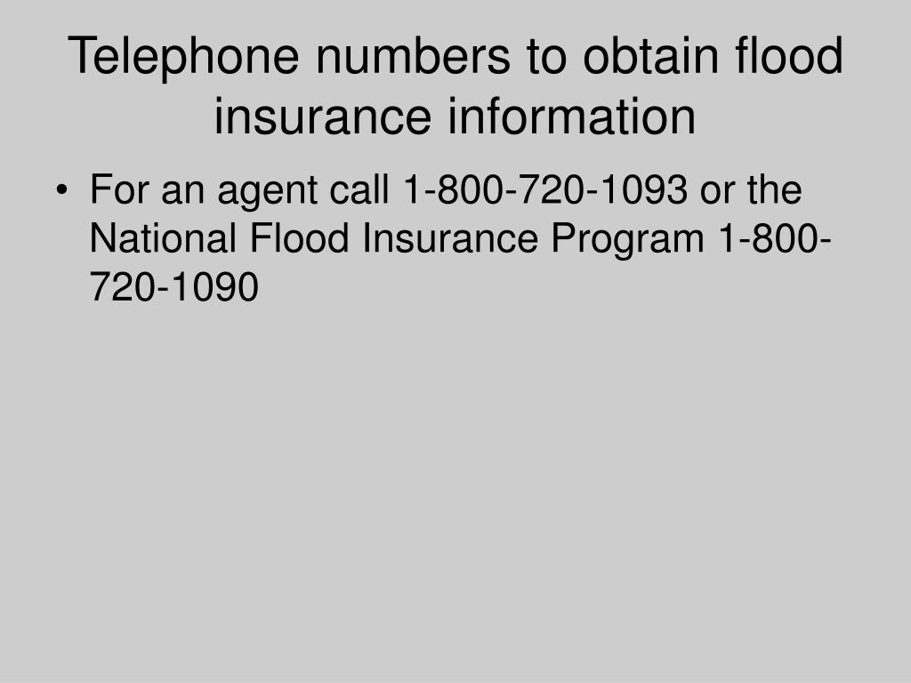 Telephone numbers to obtain flood insurance information