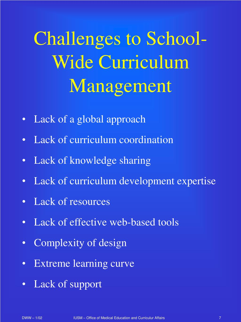 Challenges to School-Wide Curriculum Management