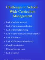 challenges to school wide curriculum management