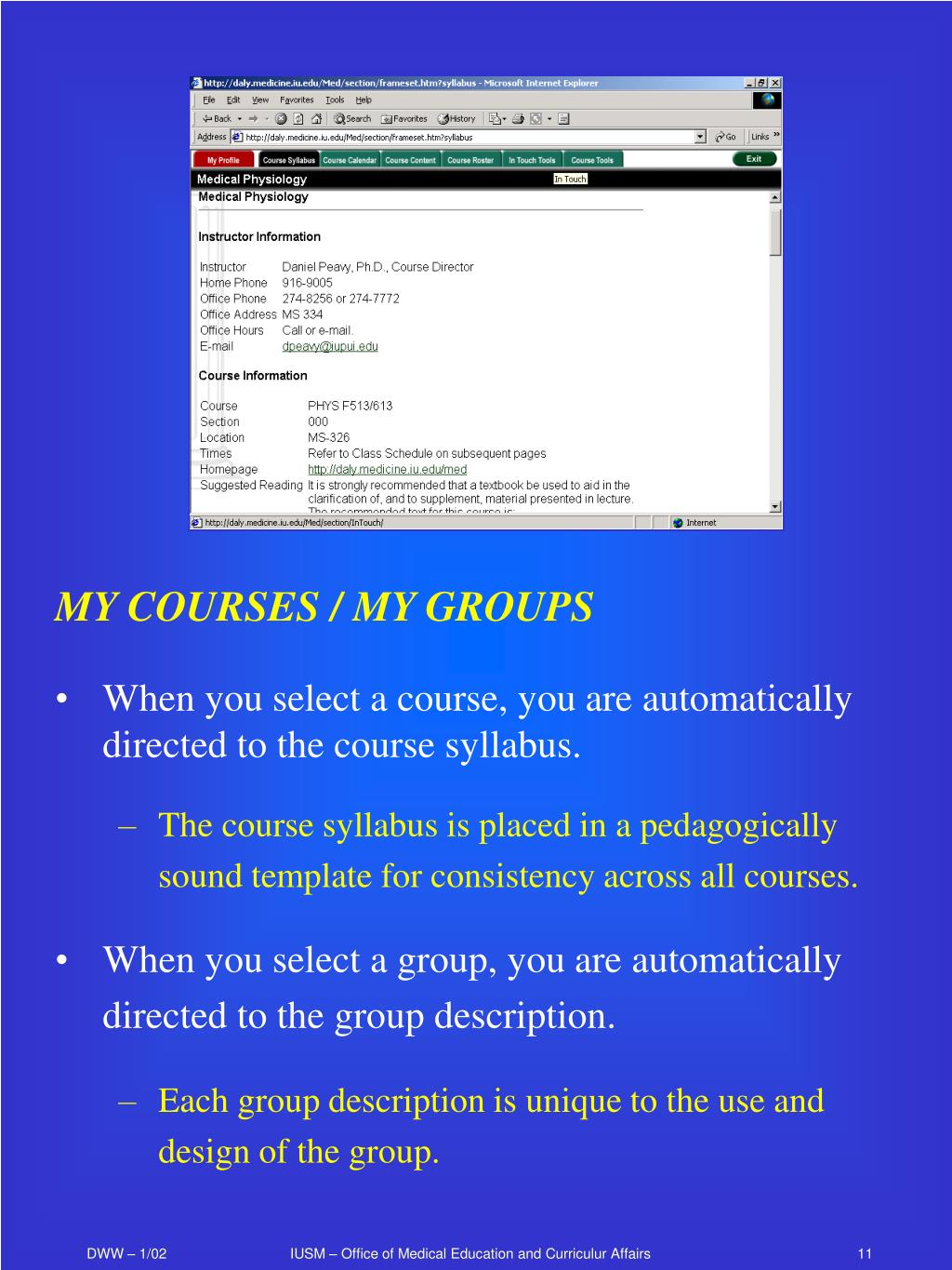 MY COURSES / MY GROUPS