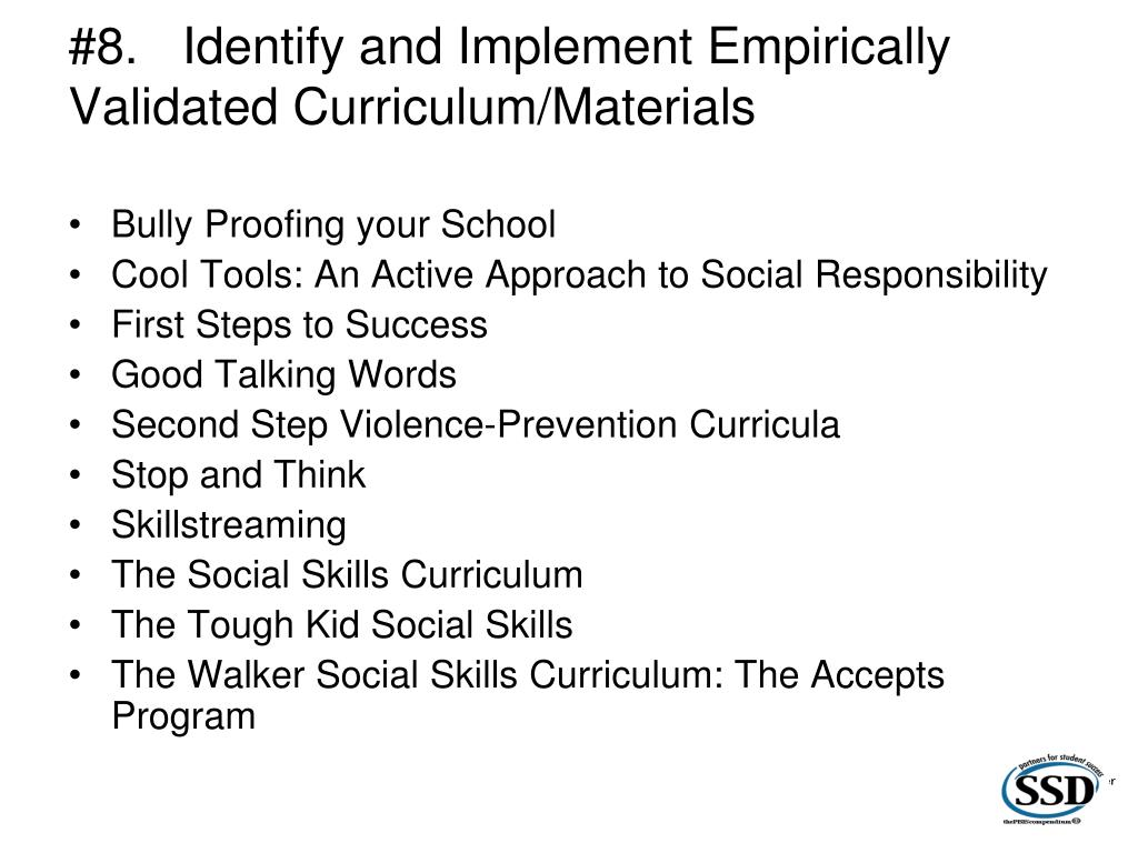 #8.Identify and Implement Empirically Validated Curriculum/Materials
