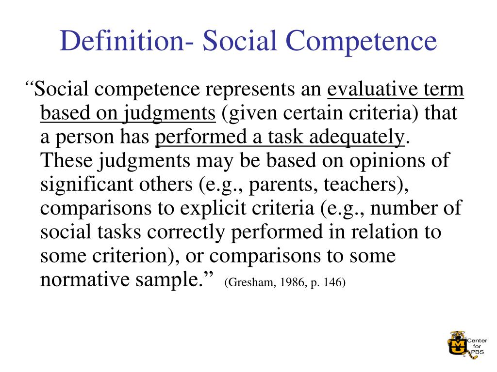 Definition- Social Competence