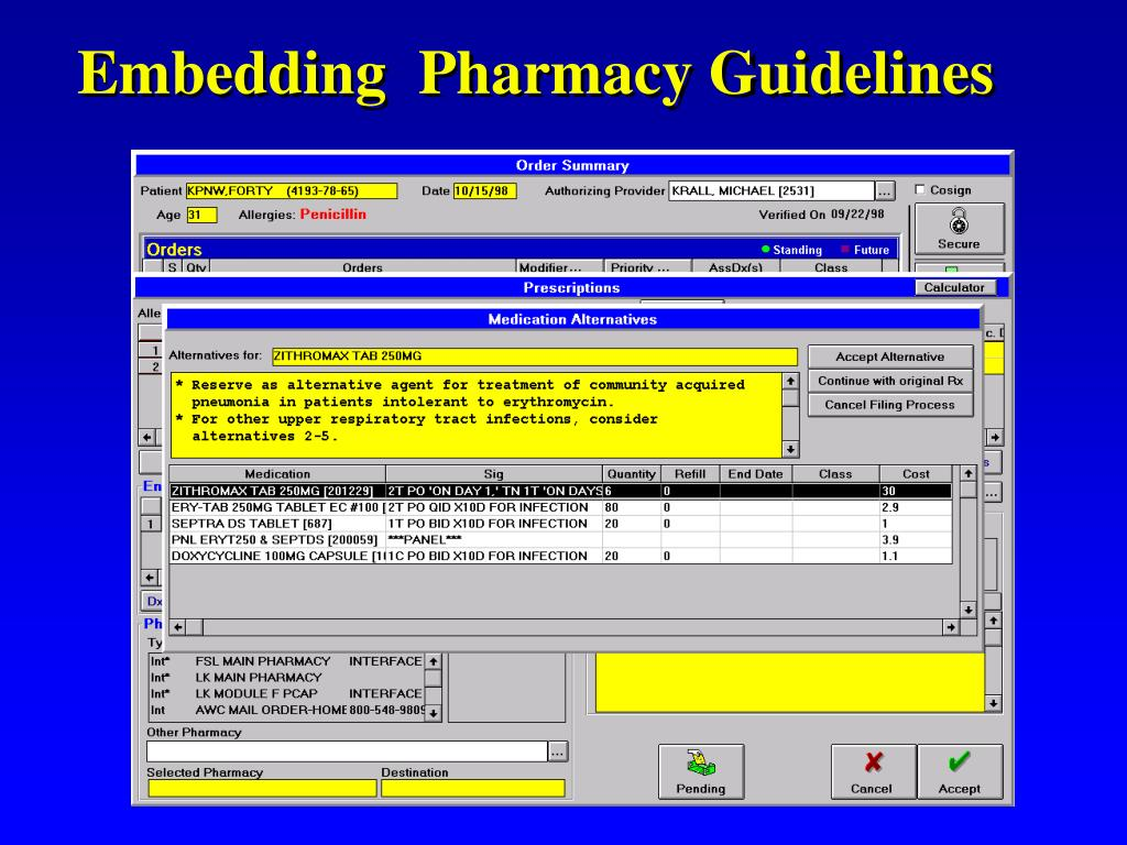 Embedding  Pharmacy Guidelines