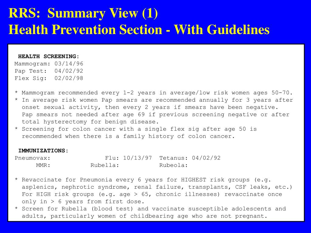 RRS:  Summary View (1)