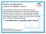 another consideration to improve the health of texans